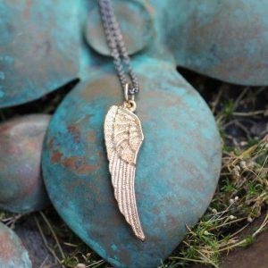 vedhæng, vinge, sølv, guld, hvidguld